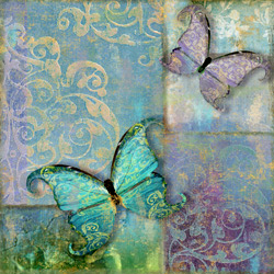 Damask And Butterflies I